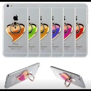 Universal orange glitter sand phone ring